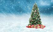 黄金の美しいクリスマス ツリーと赤は雪に覆われた冬の風景でボックスを表示します。