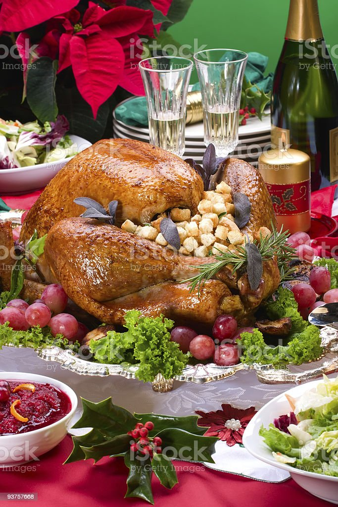 Beautiful christmas turkey dinner with vegetables royalty-free stock photo