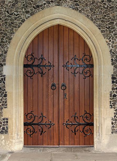 beautiful church door stock photo
