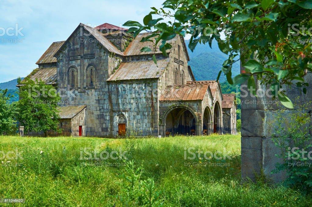 Beautiful church in ancient armenian monastery Akhtala stock photo