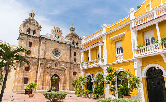 Beautiful church of San Pedro in Cartagena, Colombia - travel destinations concepts
