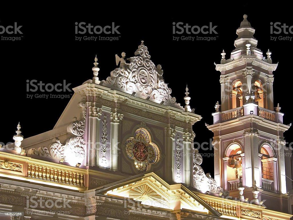 Beautiful Church in Salta at Night royalty-free stock photo