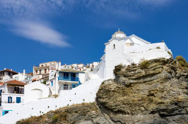 Beautiful church in the Chora of Skopelos island, Greece stock photo