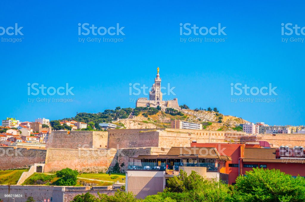 Beautiful church Notre Dame de la Garde in Marseille, Provence, France stock photo