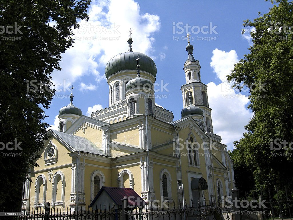 Beautiful church on a background of the blue sky royalty-free stock photo