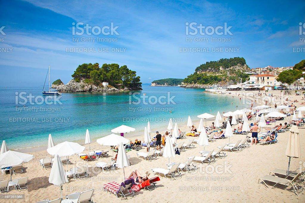 Beautiful city beach on Ionian Sea in Parga, Greece. stock photo