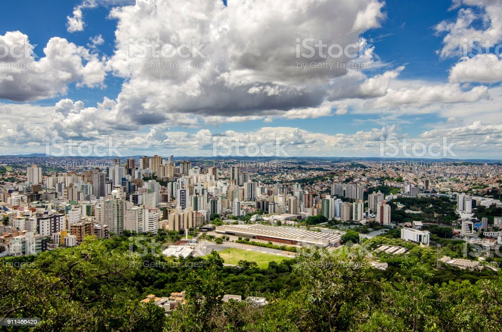 A beautiful city on horizon stock photo