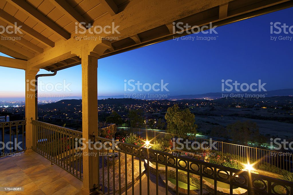 Beautiful city view from the balcony stock photo