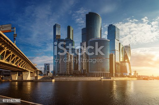 Beautiful cityscape - financial district on sunrise