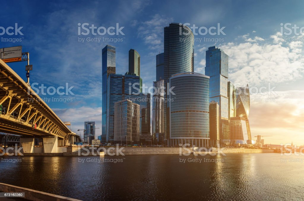 Beautiful cityscape - financial district on sunrise stock photo