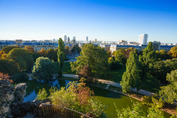 Beautiful cityscape from Buttes Chaumont park Top view picture of beautiful cityscape of nineteenth district of Paris from Buttes Chaumont park ile de france stock pictures, royalty-free photos & images