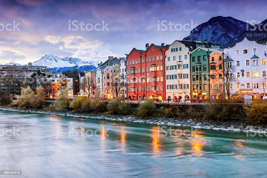 Beautiful cityscape. Innsbruck at night, Austria – zdjęcie