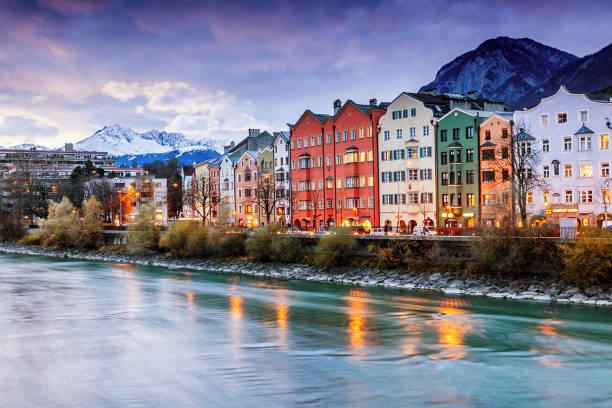 Beautiful cityscape. Innsbruck at night, Austria - foto de stock