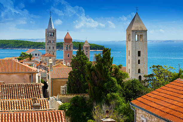 Beautiful cityscape of Croatia, the city  Rab stock photo