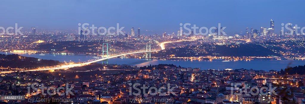 A beautiful cityscape of Istanbul at nighttime stock photo