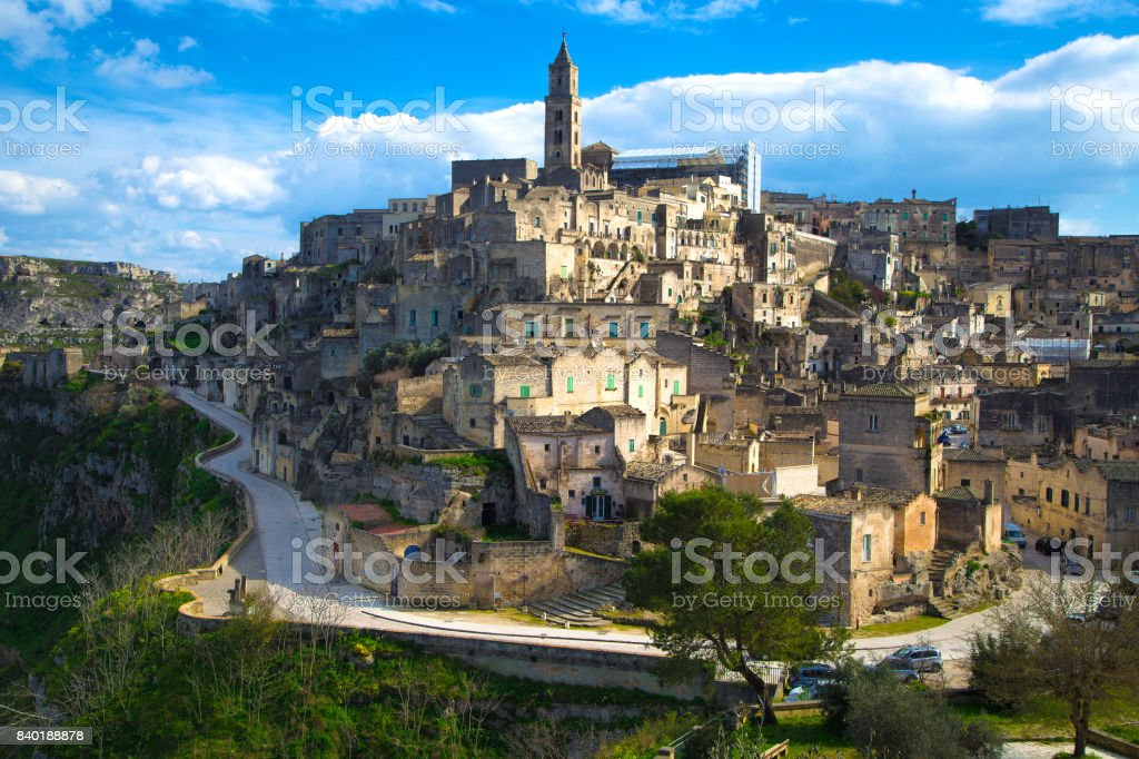 Beautiful cityscape of Matera against the blue sky stock photo