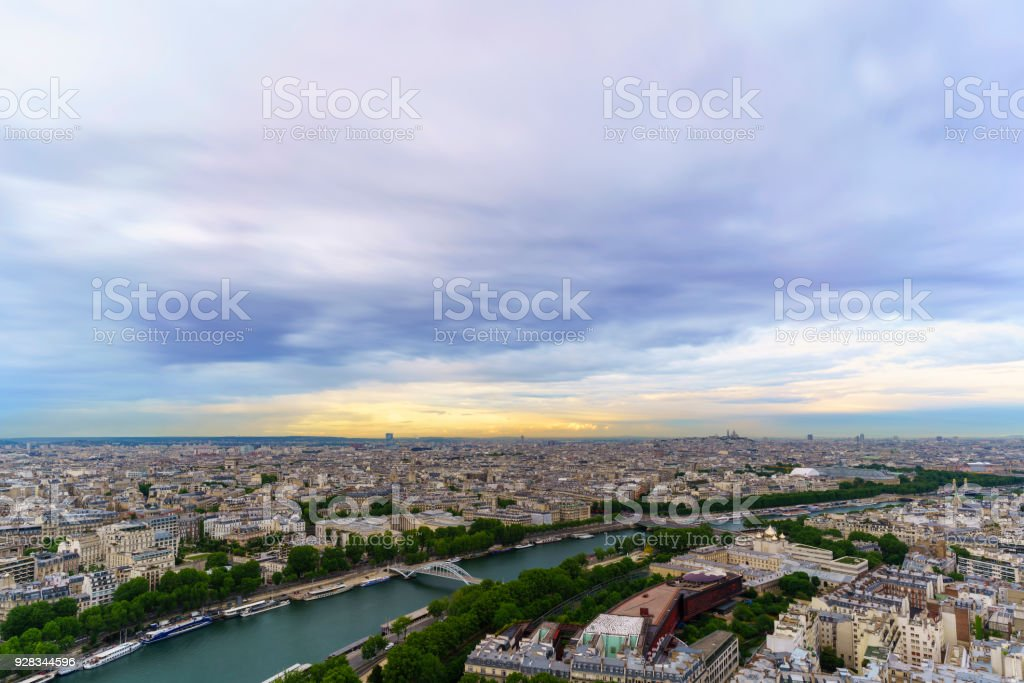 Beautiful cityscape of Paris from The Eiffel Tower viewing Basilica...