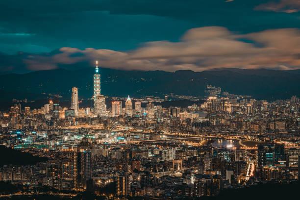 Beautiful cityscape of Taipei at dusk, Taiwan stock photo