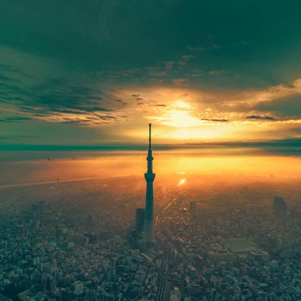Beautiful cityscape of Tokyo at dawn, Japan stock photo