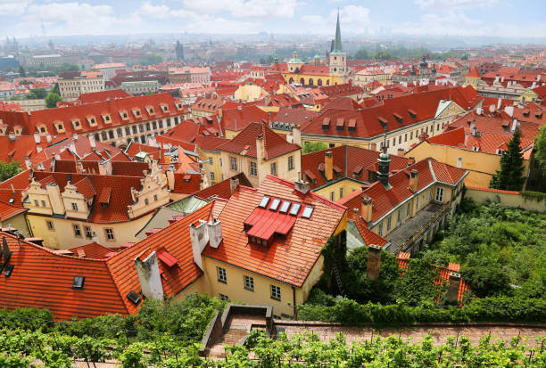 Beautiful cityscape with famous red roof tops of Mala Strana district in Prague, Czech Republic stock photo