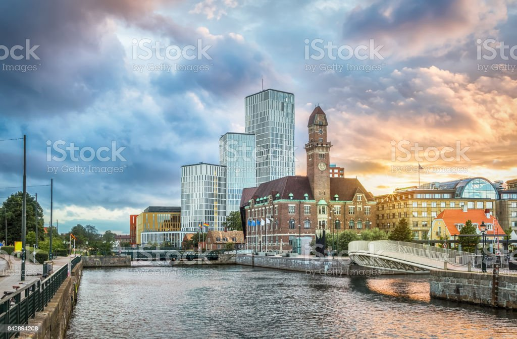 Beautiful cityscape with sunset in Malmo, Sweden stock photo