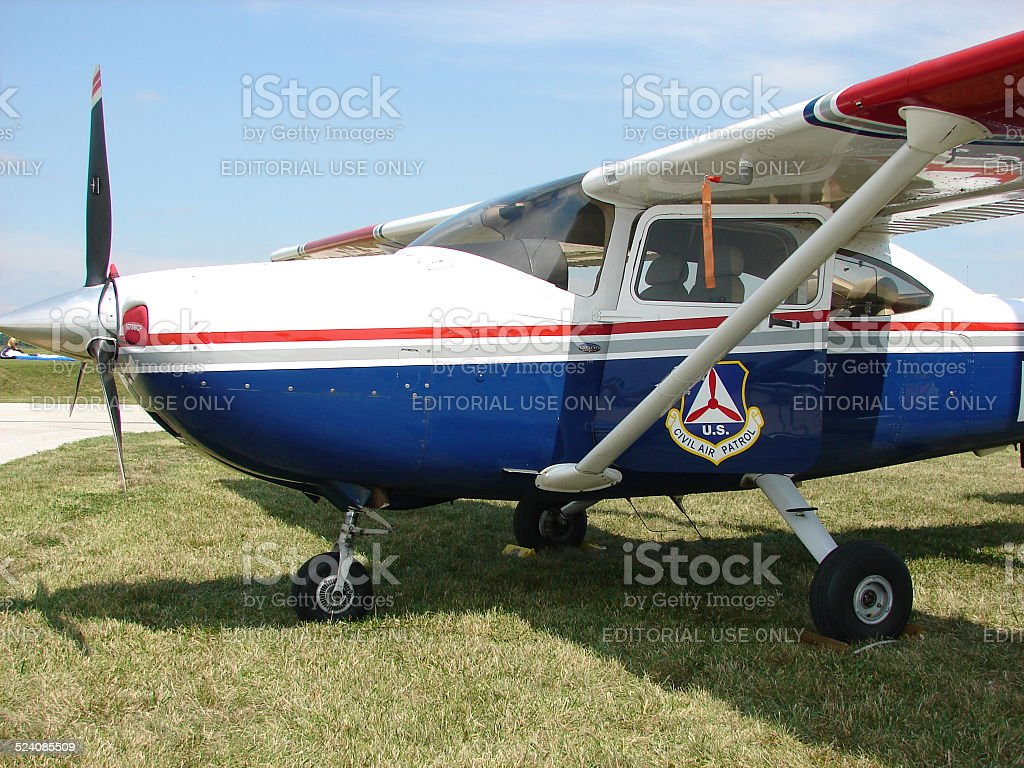Beautiful classic Civil Air Patrol Cessna 182 Skylane aircraft. stock photo