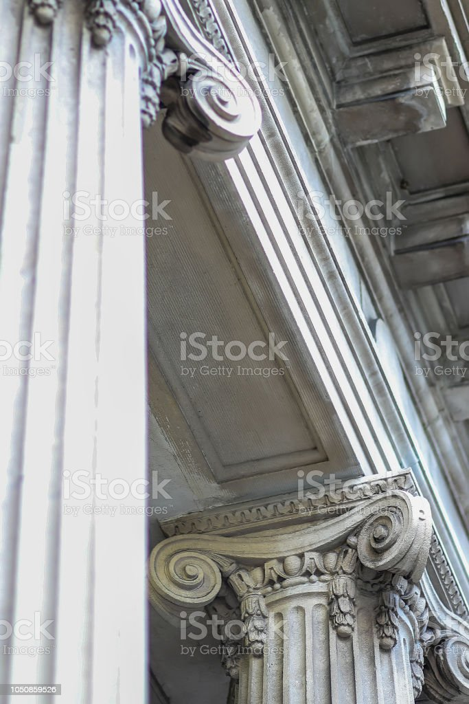 Beautiful Classic Concrete Column Architecture Angled View stock photo