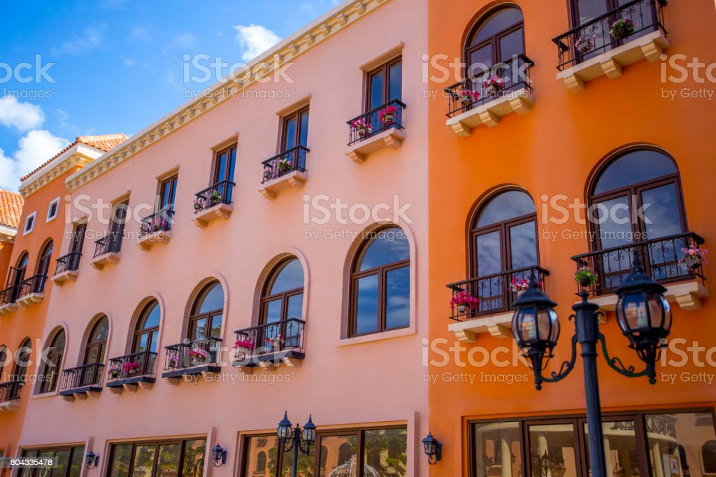 Beautiful classic exterior building on sunny day on summer time can be use as background for content about travelling outing. stock photo