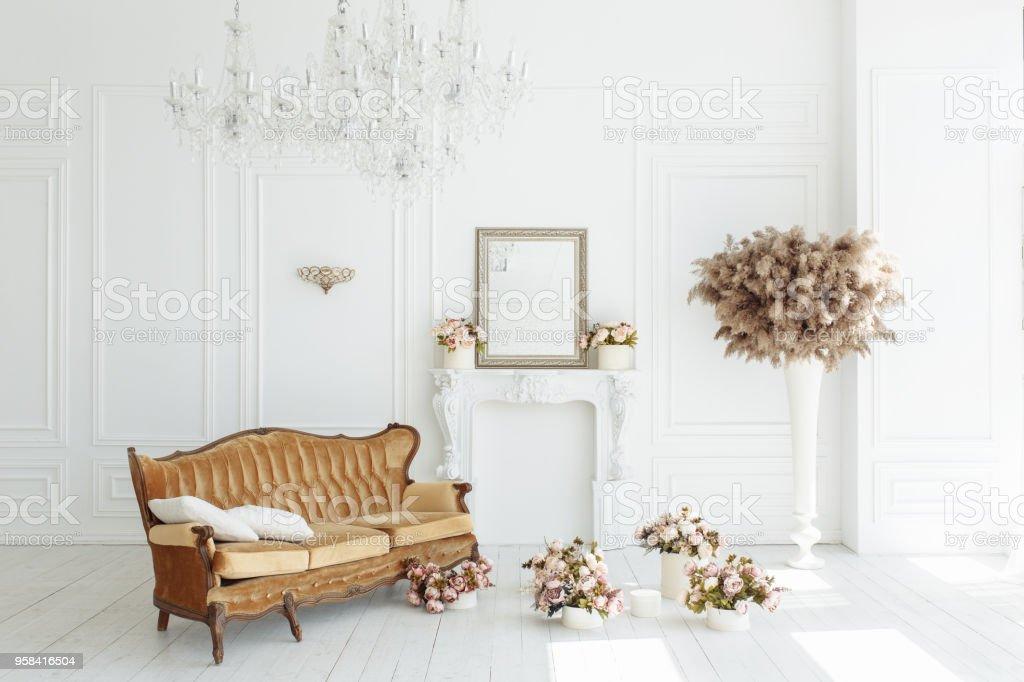 Schöne Klassische Weiße Interieur Mit Kamin Braunen Sofa Und Ein ...