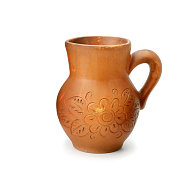 Beautiful clay pot isolated on white background.