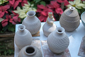 Beautiful clay pot rest to dry in garden