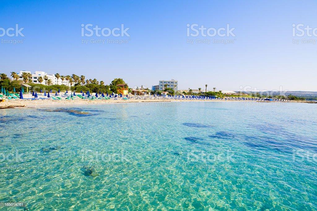 Beautiful clear blue sea at Macronissos Beach in Cyprus stock photo