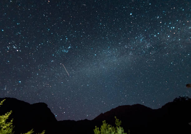 Beautiful clear night time sky filled with stars stock photo