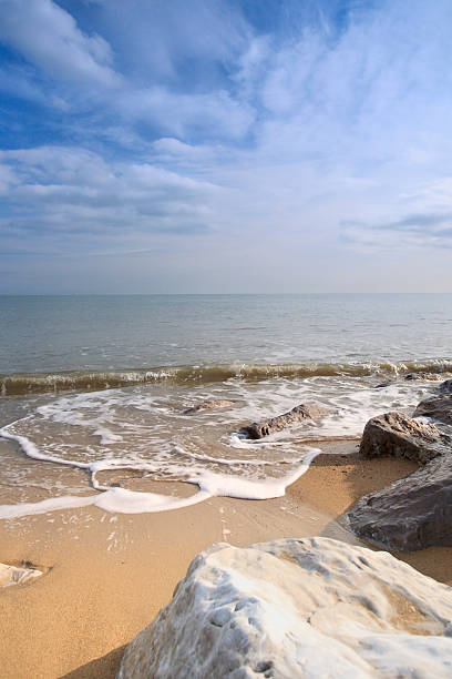 Beautiful clear water beach in Felixstowe, United Kingdom stock photo