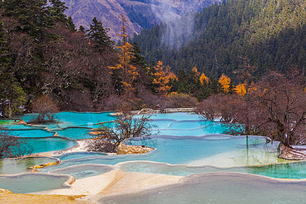 Beautiful Clear Water in Huanglong stock photo