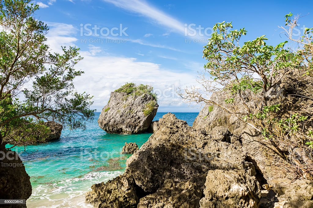 Beautiful cliffs and the ocean in the tropics stock photo