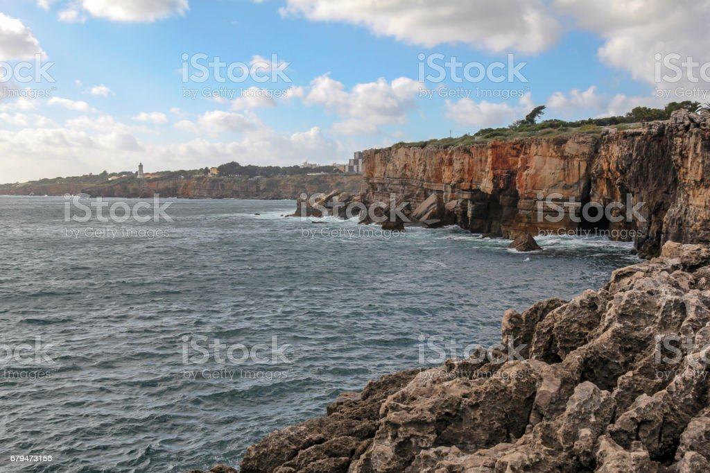 beautiful cliffs in Cascais near Lisbon, Portugal royalty-free stock photo