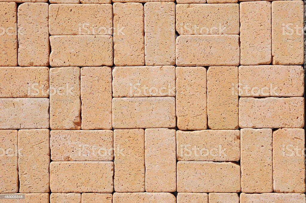 Beautiful Clinker Pavers, detail of a pavement to walk stock photo