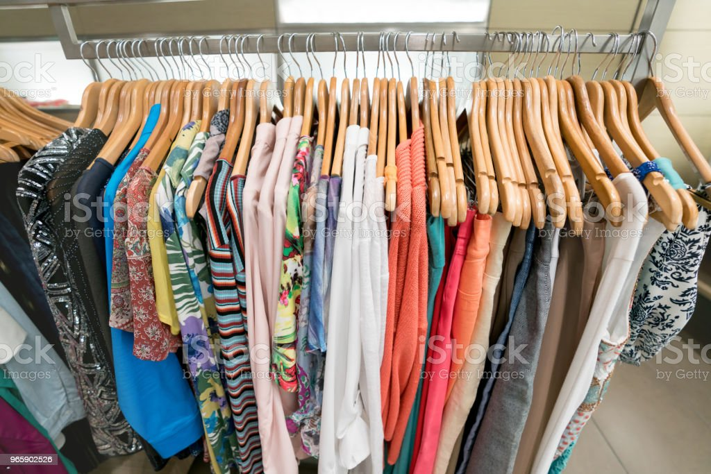 Beautiful clothes hanging at a clothing store - Royalty-free Beauty Stock Photo