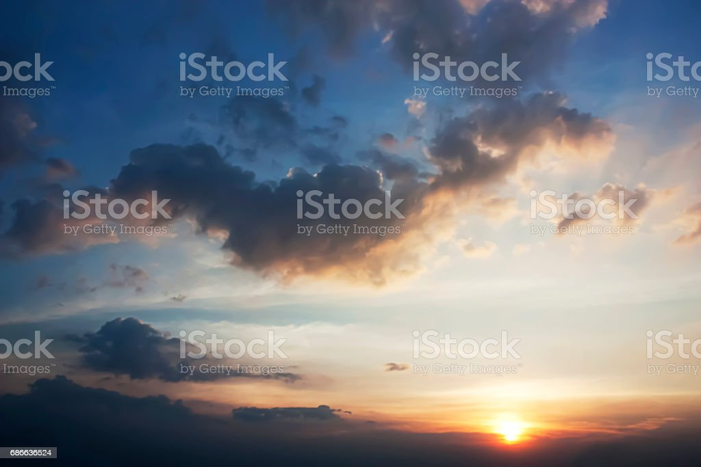Beautiful clouds and Blue sky during the Sunset. royalty-free stock photo
