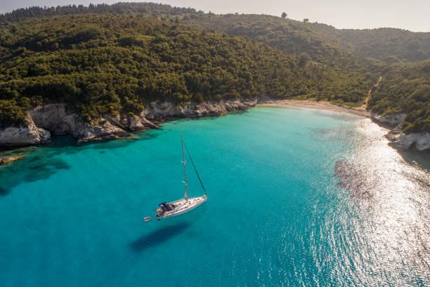 Beautiful coast around Mediterranean island stock photo
