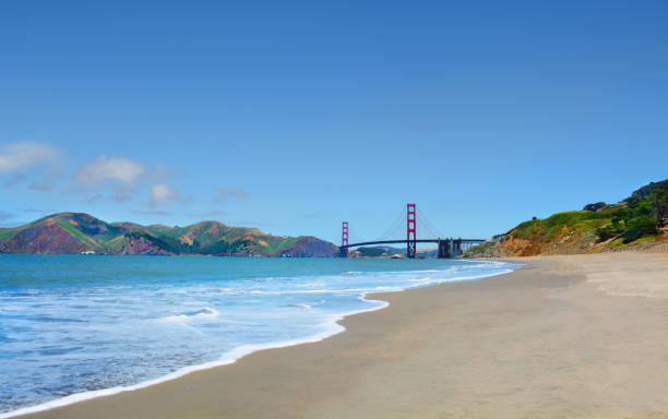 Beautiful coastal landscape, view Golden Gate Bridge. stock photo