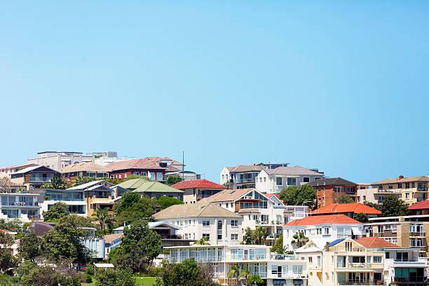 Beautiful coastal town Bondi, suburb of Sydney Australia, copy space stock photo