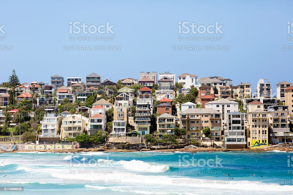 Beautiful coastal town Bondi, suburb of Sydney Australia, copy space stock photo