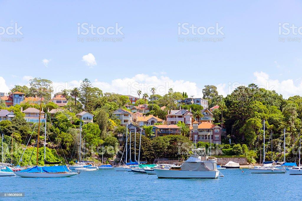 Beautiful coastal town Mosman, suburb of Sydney Australia, copy space stock photo
