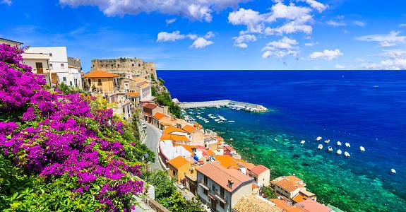 Beautiful Coastal Town Scilla In Calabria Italy Stock ...