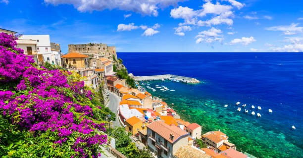 Beautiful coastal town Scilla in Calabria. Italy beautiful medieval town Scilla in Calabria with great beaches sicily stock pictures, royalty-free photos & images