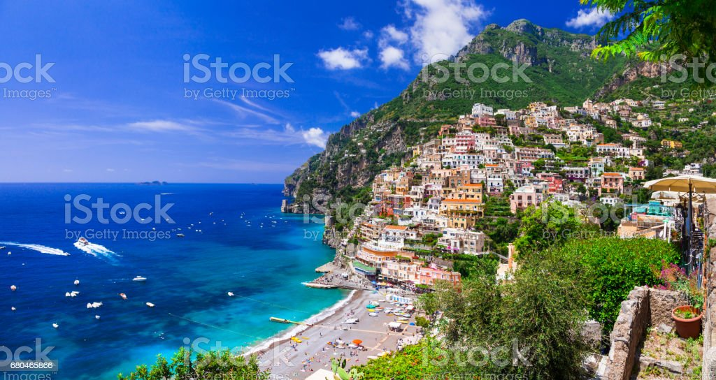 Beautiful coastal towns of Italy - scenic Positano in Amalfi coast stock photo