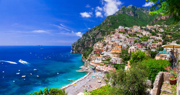 beautiful coastal towns of italy - scenic positano in amalfi coast - mediterranean culture stock photos and pictures