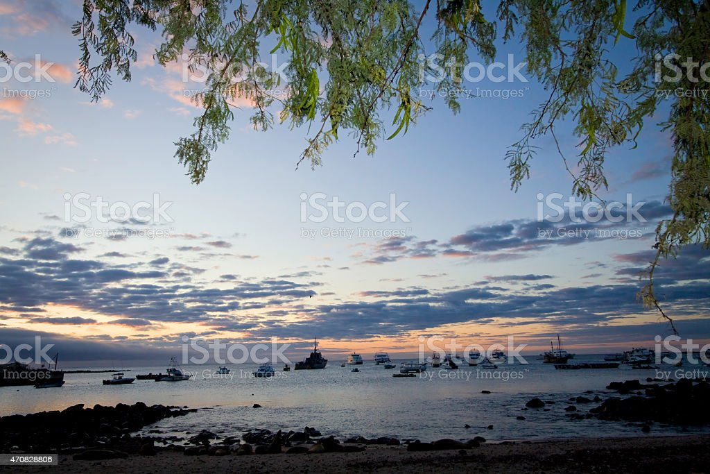 Beautiful coastland landscape of port in San Cristobal Island during stock photo